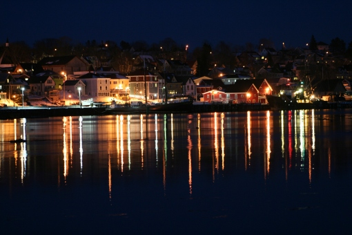 Lunenburg Harbour at night
